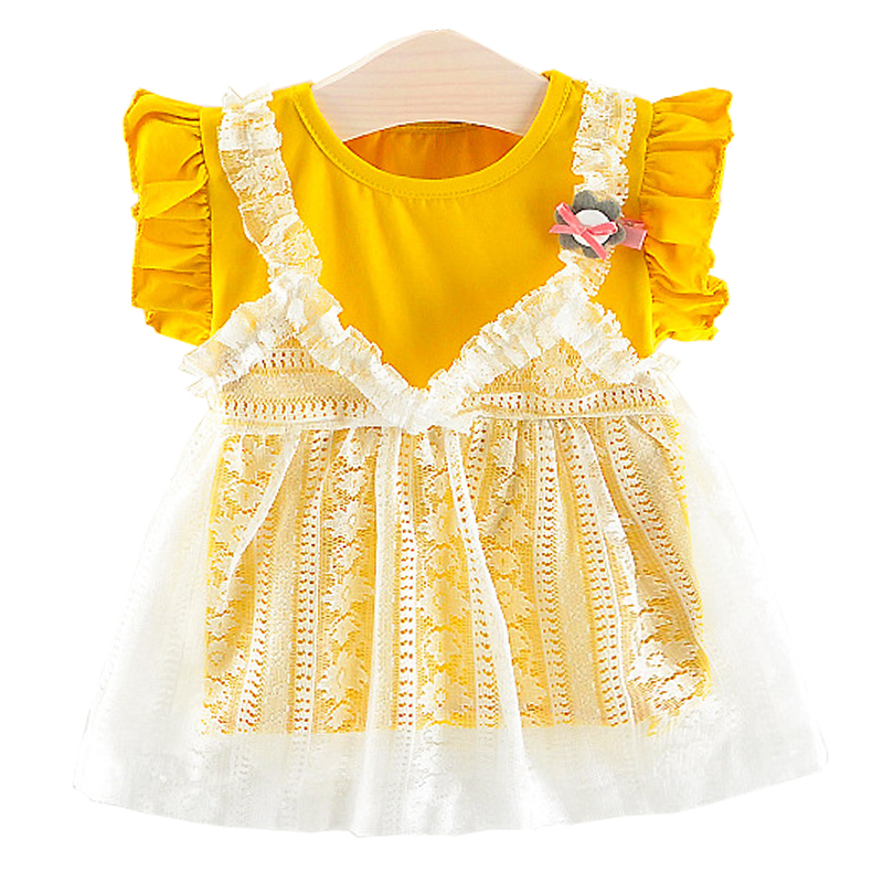 Baby Dresses Summer Baby Girls Mini A-Line Cute Patchwork Dress Toddler Princess Birthday Party Dress Cotton Children Clothing