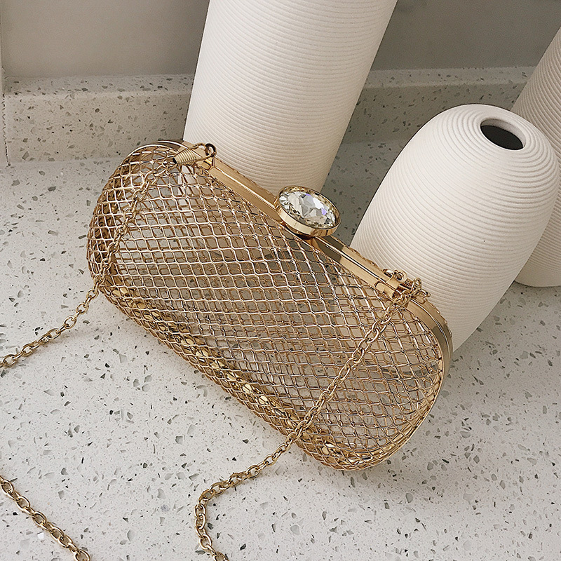 WITFLASH Grid Shape Womens Clutch Evening Bags Gold Hollow Out Women's Clutches Lattice Hasp Party Hand Clutch Bag for Women