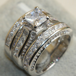Image 3 - choucong Wieck Princess Cut Brand Jewelry 925 Sterling Silver White Clear 5A CZ stones Wedding Bridal Women Rings Gift Size 5 11