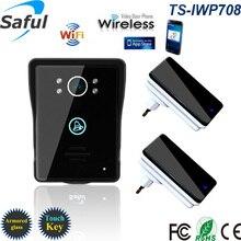 WiFi Cámara de Vídeo Teléfono de La Puerta de intercomunicación de control de acceso de red Remoto con Función de alarma de detección de Humanos + 2 Timbres