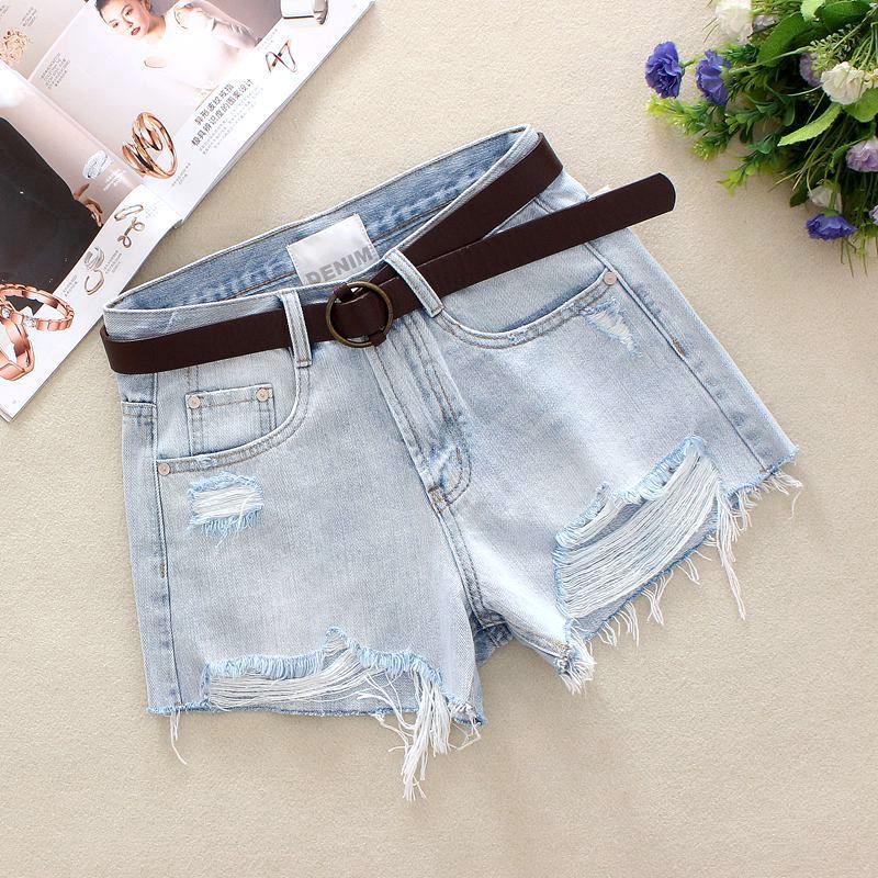 dd721331ec6 2019 светло-голубые женские джинсовые шорты летние потертые шорты из 100%  хлопка с высокой