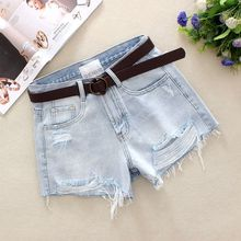 2019 Light Blue Womens Denim Shorts Summer Hole Washed 100% Cotton Solid High Waist Loose Broad Foot 9950