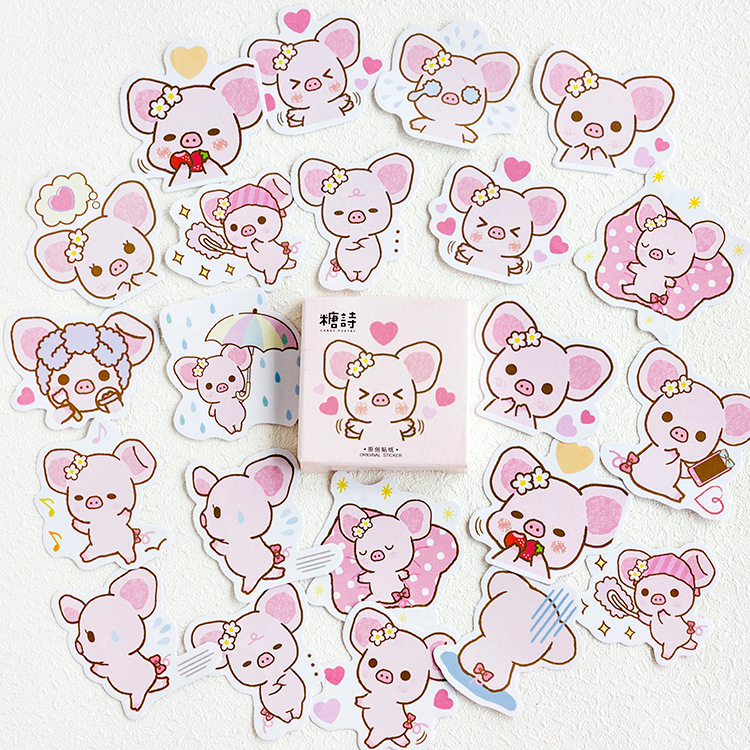 45pcs/pack Cute Pink Piggy Decorative Stickers Scrapbooking Stick Label Diary Stationery Album Stickers