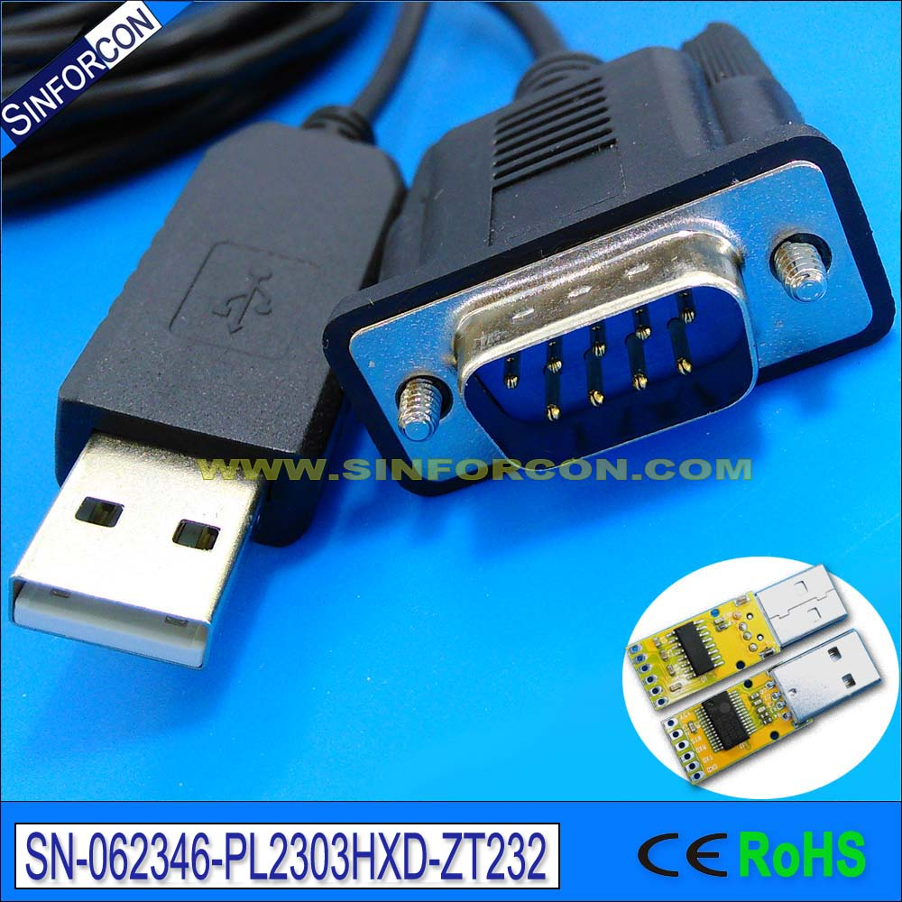 купить prolific pl2303hxd usb rs232 to db9 male adapter cable for android device set top box stb недорого