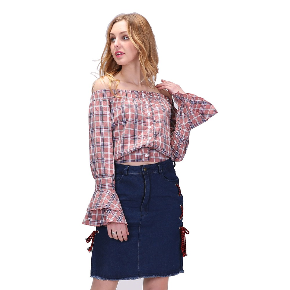 dioufond elegant off shoulder blouse shirt women plaid. Black Bedroom Furniture Sets. Home Design Ideas