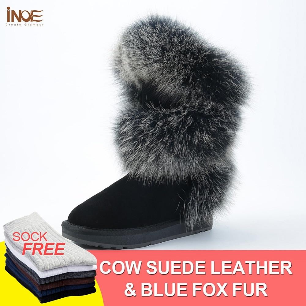 INOE сапоги женские зимние модный стиль натуральный лисий мех коровья кожа женская высокая зимняя обувь на плоской подошве зимние сапоги кор...