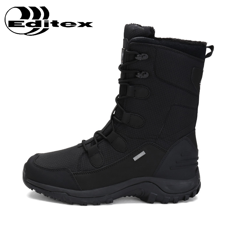 EDTIX Winter Outdoor Snow Boots Men Waterproof Anti-Slippery Climbing High Boots Plus Cashmere Thermal  Hiking Shoes ED1705 waterproof men outdoor hiking boots autumn winter hunting boots mountain climbing men trekking shoes warm fur snow boots male