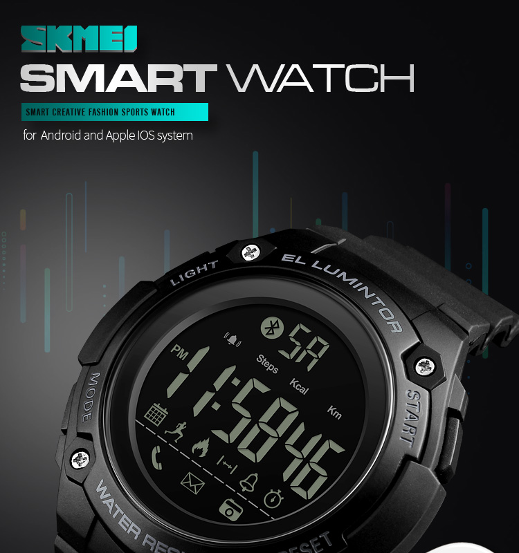 SKMEI 2019 New Bluetooth Sport Smart Watch Men Waterproof Calories Pedometer digital SmartWatch For IOS Android (1)