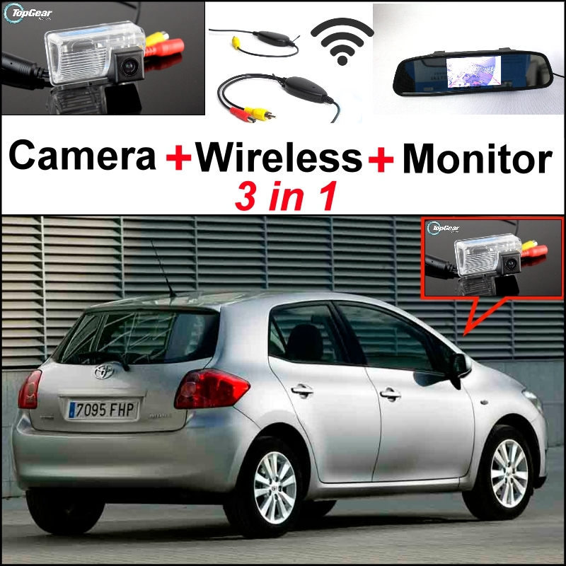 3 in1 Special Camera + Wireless Receiver + Mirror Monitor Easy DIY Back Up Parking System For TOYOTA Auris Blade цена