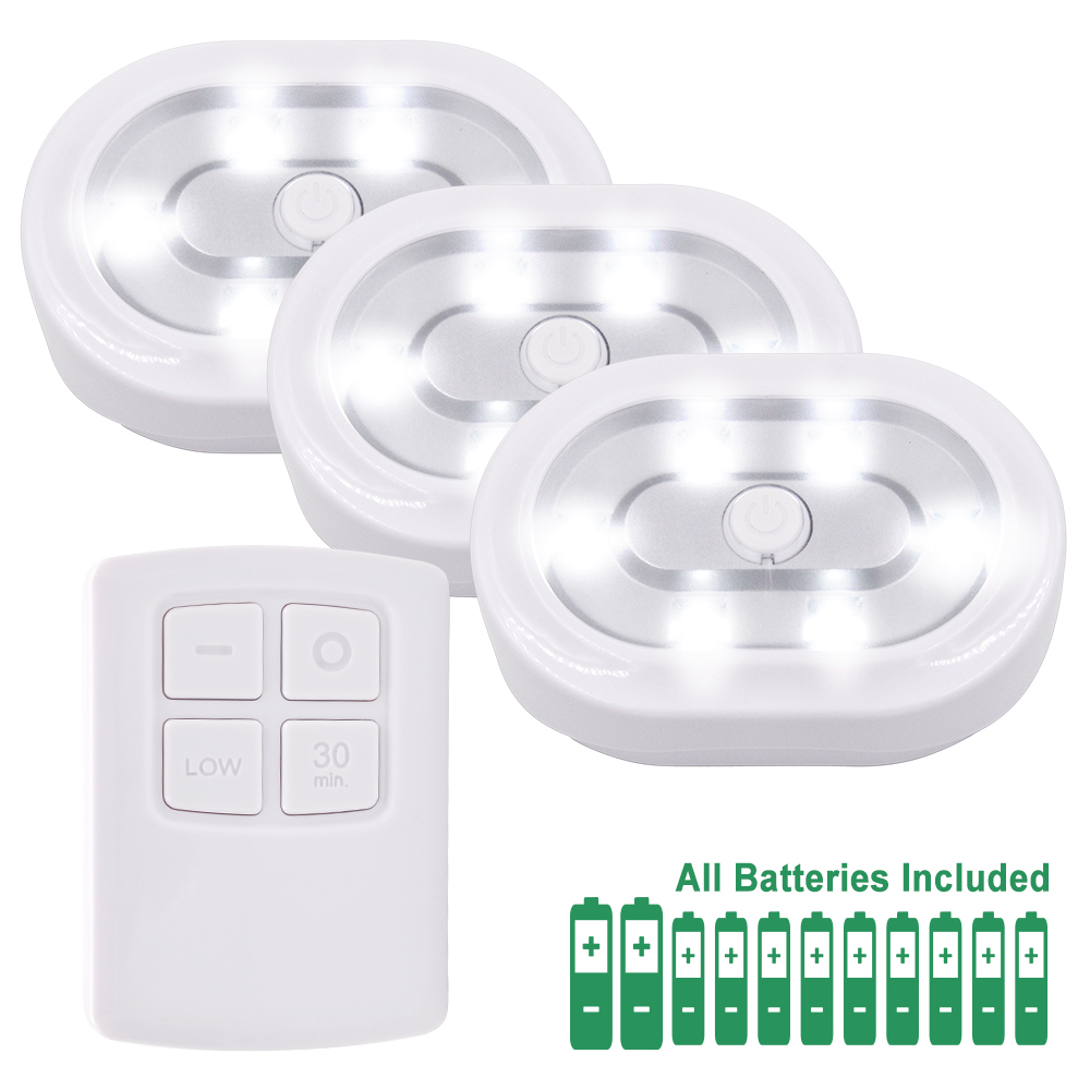 Wireless Dimmable Under Cabinet LED Puck Lamps LED Night Lights Kit with Remote Control Lighting 3 Lamps and 1 RF Remote Control Under-cabinet lighting