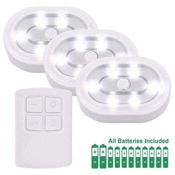 Lâmpadas Regulável No Âmbito Do Gabinete LED Puck sem fio Kit com Controle Remoto de Iluminação LED Luzes Da Noite Lâmpadas e 1 3 RF controle remoto