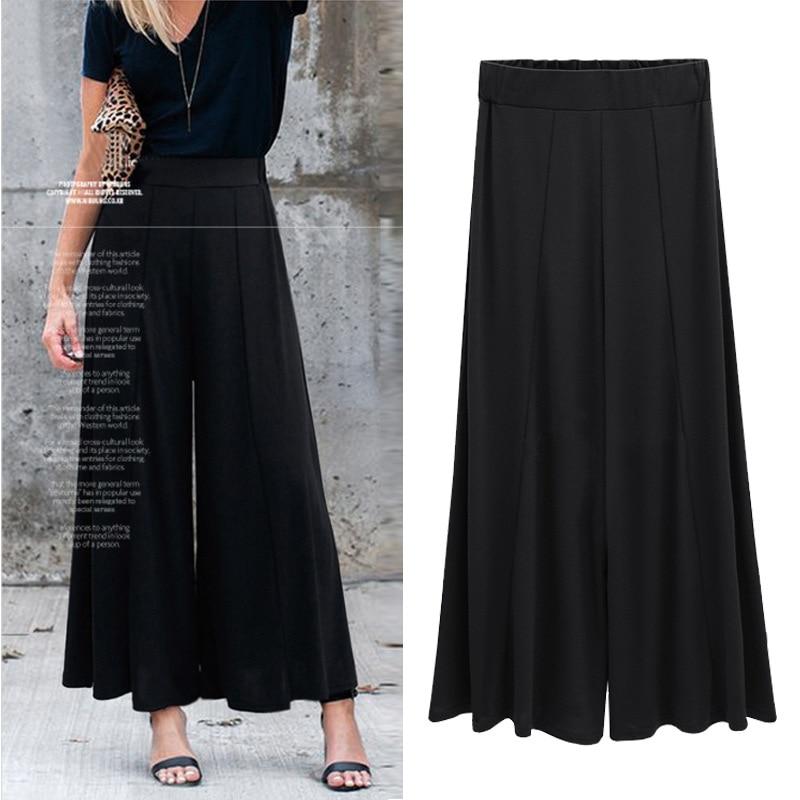 Large Size Women   Wide     Leg     Pants   High Elastic Waist   Pants   Ladies Elegant Casual Harajuka Trousers Black Oversized Loose Pantalon