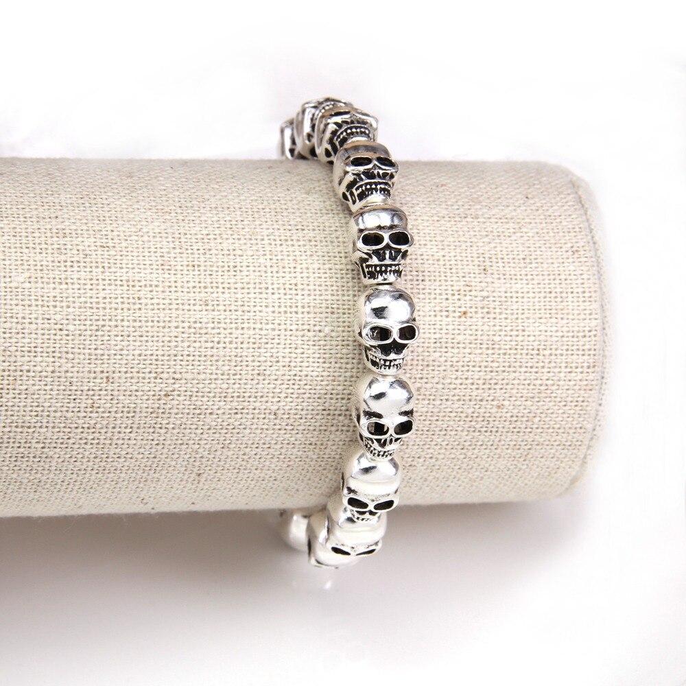 HEMISTON Punk 925 en argent Sterling crâne perles Bracelets, 14 CM-24 CM, bijoux fins cadeau pour femmes et hommes TS 021 - 4