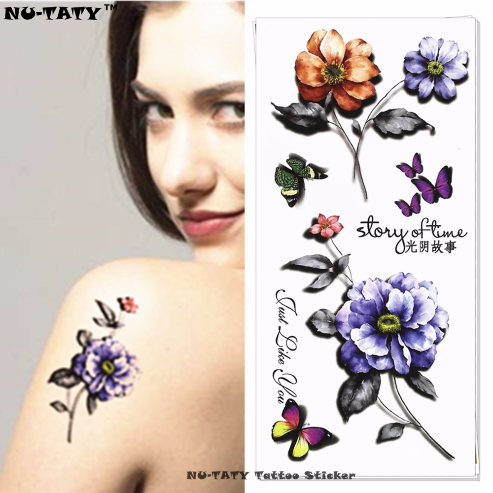 Home Décor Flower Temporary Tattoos Stickers Blue Flowers Blossoms Flash Tattoo Stickers Alarm Clocks & Clock Radios