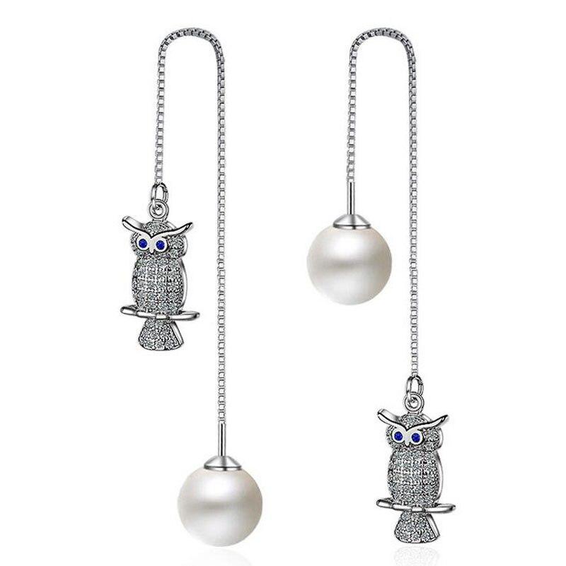 Frauen Mode 925 Silber Weiß CZ Eule Perlen Lange Kette quaste ...