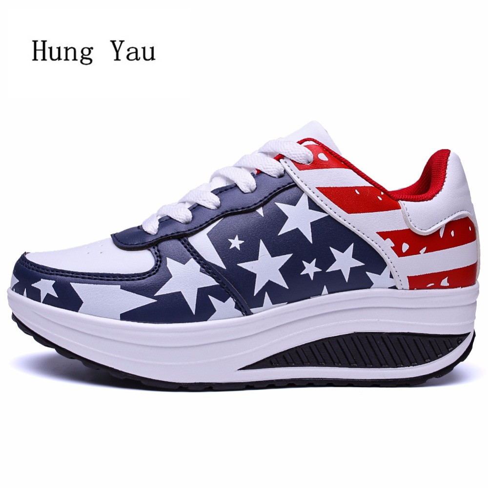 Women Casual Shoes Flat 2018 Fashion Outdoor Breathable Height Increasing Couple Shoes Lace Up Lightweight Shoes Woman Platform