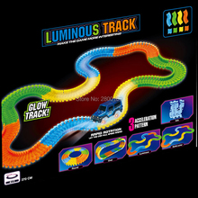 Glow in the Dark Luminous glow race Track Bend Flex Assembly Toy 165/220/240pcs Electric Race Track with 1pc light up Racing car