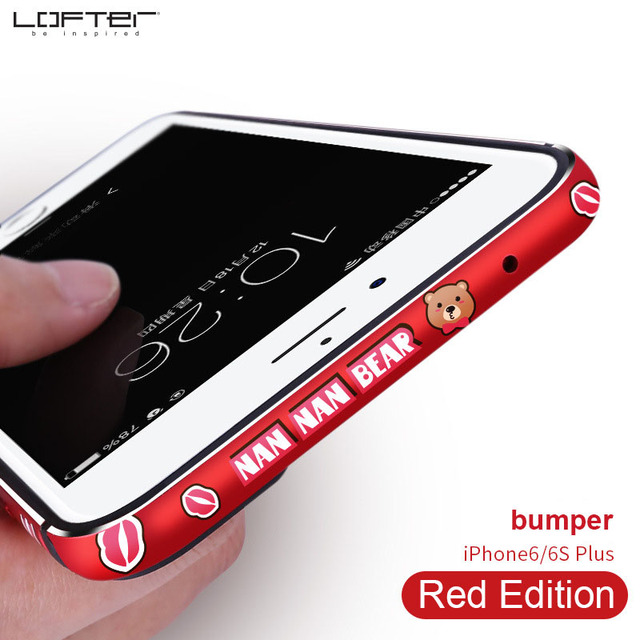reputable site b77a0 1aaeb US $9.86 6% OFF|Lofter Chinese Red Cartoon Aluminum Bumper for iPhone 6 6s  6 Plus Ultra Slim Metal Frame Phone Case Silicone Cover Coque Capinha-in ...