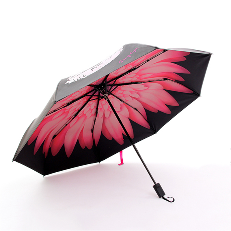 MUERHUA Lip print Color Change Umbrella Waterproof UV Protection Umbrella 3 Folding Women Men Parasol Durable Female Rain Tool