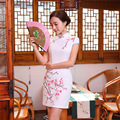 New Summer Silk Satin Cheongsam Chinese Traditional Dress Vestido Short Sleeve White Embroidery Qipao Unique Chinese Style Dress