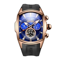 Recife Tigre Marca Grande Mostrador Analógico Mostrador do Relógio Do Esporte para Homens Luminosos Relógios Tourbillon Rose Ouro Mostrador Azul Relógios de Pulso