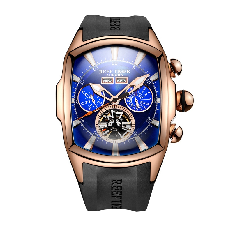 Reef Tiger Brand Big Dial Sport Watch for Men Luminous Analog Display Tourbillon Watches Rose Gold Blue Dial Wrist Watches