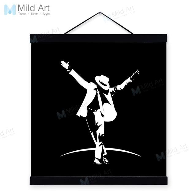 Black White Michael Jackson Pop Music Superstar Wooden Framed Posters Boy Room Wall Art Picture Bar