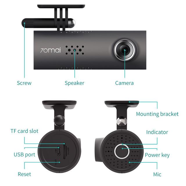 Xiaomi 70mai Car DVR APP English Voice Control 70 Mai Dash Cam 1080HD Night Vision 130-degree Angle Wifi 70mai Car Recorder
