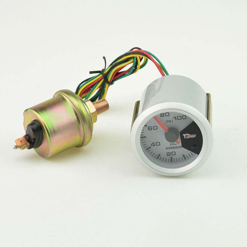 52MM 7 Color backlight Auto Car Oil Pressure gauge Meter Gauge with Sensor unit 0 100