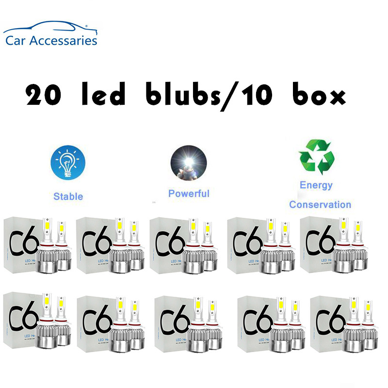 <font><b>20</b></font> <font><b>PCS</b></font> C6 led Car Headlight H7 LED H4 Bulb HB2 H1 H3 H11 HB3 9005 HB4 9006 9004 9007 9012 72W 8000lm Auto Lamps Fog Lights 12V image