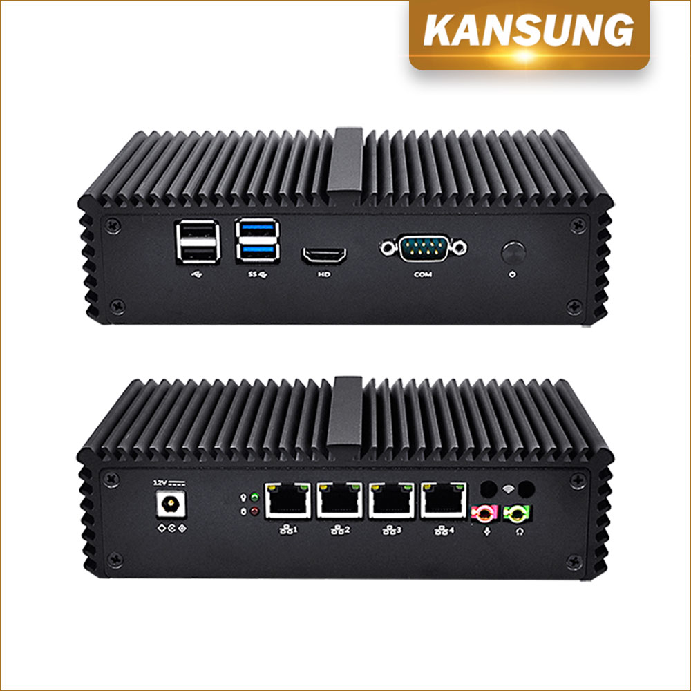 Cheap Firewall Fanless Mini PC 4 Lan Computer Broadwell Celeron 3215U Nettop PC 4 USB COM