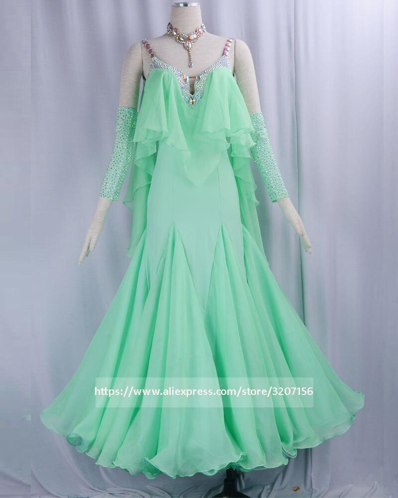 Стандартное бальное платье для женщин, новинка 2018, на заказ, зеленые, v образный вырез, перчатки, вальс, платья для конкурса бальных танцев