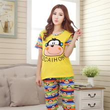 2017 pajamas for women Shirt Shorts Sleepwear Summer Pajama Set Night Suit Cute Simple Women Sleepwear Cartoon Pajamas