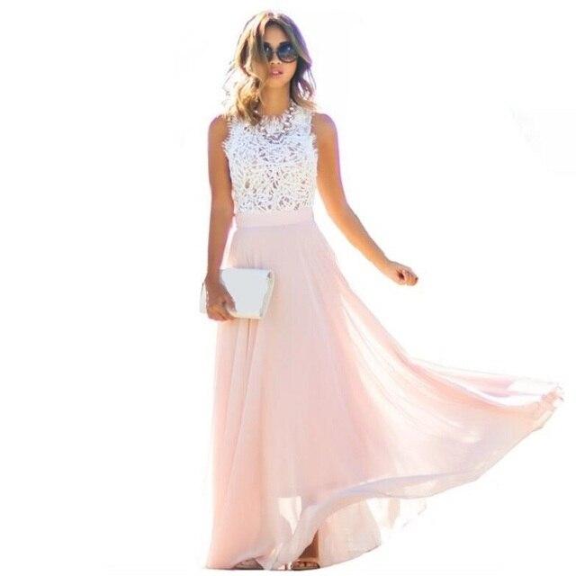 6d95f6096d New Arrival 2018 Summer Evening Party Hollow Out Beach Dress Womens Boho  Sleeveless Lace Maxi Dress Female vestidos robe femme