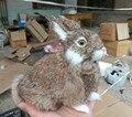 Cerca de 18x17 cm coelho simulação brinquedo de polietileno & furry cócoras marrom modelo de coelho casa decoração presente de aniversário t128