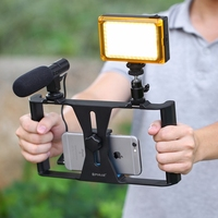 PULUZ Handheld Phone Stabilizer Adjustable Smartphone Stabilizer Rig LED Studio Light + Video Microphone Cold Shoe Tripod Head
