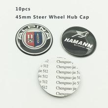 Car-styling 10Pcs/lot 45mm Car Steer Wheel Hub Emblem Cap Steer Wheel Center Cover Sticker Carbon Steering wheel stickers
