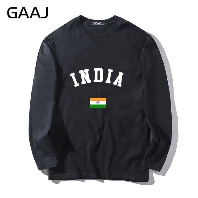 1d7a10611 T Shirt Men India Flag Tshirt Fashion Man   Women Unisex Long Sleeve Print  Letter South Asia Tee Slim Fit Hip Hop Summer Cotton
