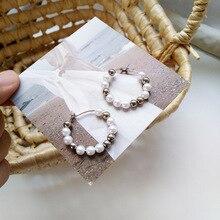 Fashionable women jewelry round hoop earrings white pearls silver beads fancy for