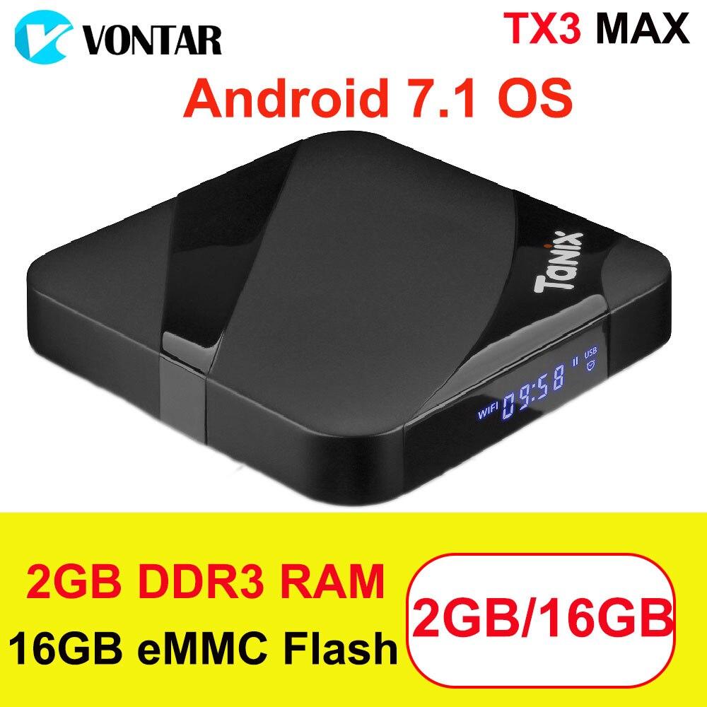 Tanix TX3 MAX 2 gb 16 gb Android 7.1 TV BOX Amlogic S905W Quad Core Suppot BT4.1 H.265 4 karat 30tps 2,4 ghz WiFi Play Store Netflix