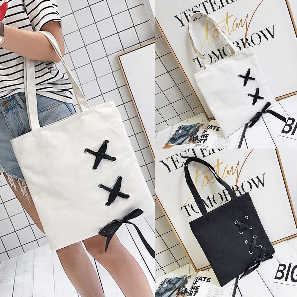 Women's Lace-Up Canvas Tote Single Shoulder Bags Handbags Bags Designer