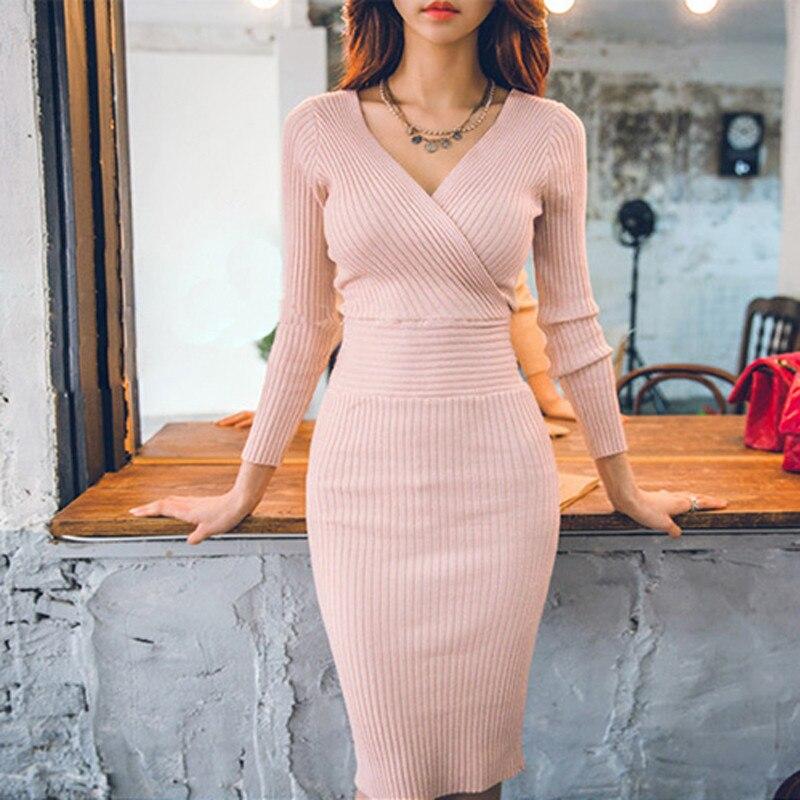 Fit 45-70 kg Otoño Invierno mujeres punto algodón ajustado suéter vestido cuello en V ajustado Bodycon vestido elegante Rosa Sexy Fiesta Vestidos