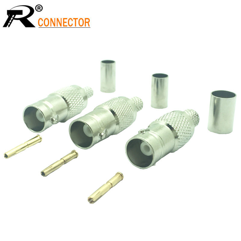 100pcs lot BNC female jack crimp connector straight female BNC socket adapter BNC RG58 RG59 RG6