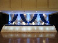 3M*6M White Wedding Backdrop with royal blue and silver swags Stage Curtain Wedding Decoration
