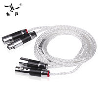 YYAUDIO 1 Pair Y 8 Hifi XLR Cable Pure 7N OCC Silver plated Audio Cable With Top Grade Carbon fiber XLR Plug