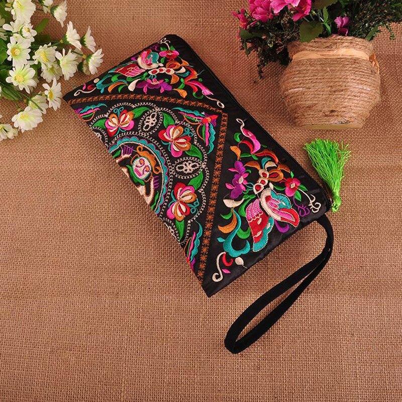 Small Handbag Embroidered Clutch-Bag Flower Vintage Evening Women Tassel Double-Faced