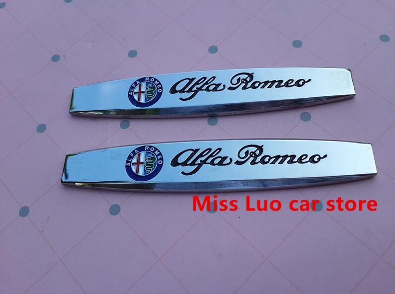 2pcs Free Shipping Alfa Romeo Car Fender Side Emblem Badge Decal