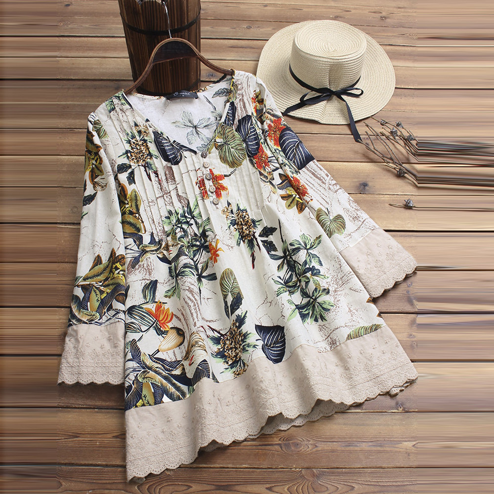 Plus Size 5XL Womens Tops And Blouses Vintage Floral Long Sleeve Blouse 2018 Women Clothes Streetwear Ladies Tops Clothing