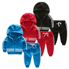 Children 's clothing 2016 autumn boy sweater suit children' s hooded zipper cardigan two – piece