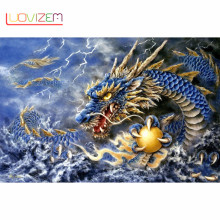 Diamond Painting Chinese Dragon Diy Embroidery Cross Stitch Round / Square Full